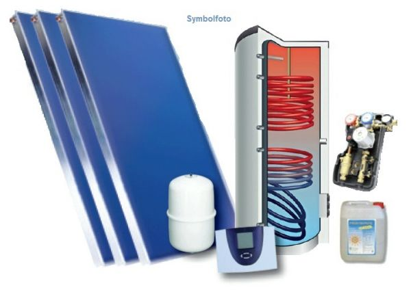 Solar-Set 10 m2 Aufdach und Solarspeicher 500 inkl. Regelung und Zubehör